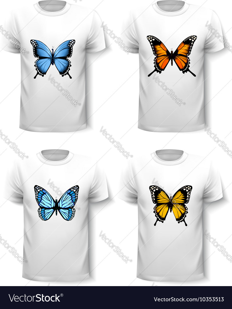 Set of shirt templates with butterfly designs
