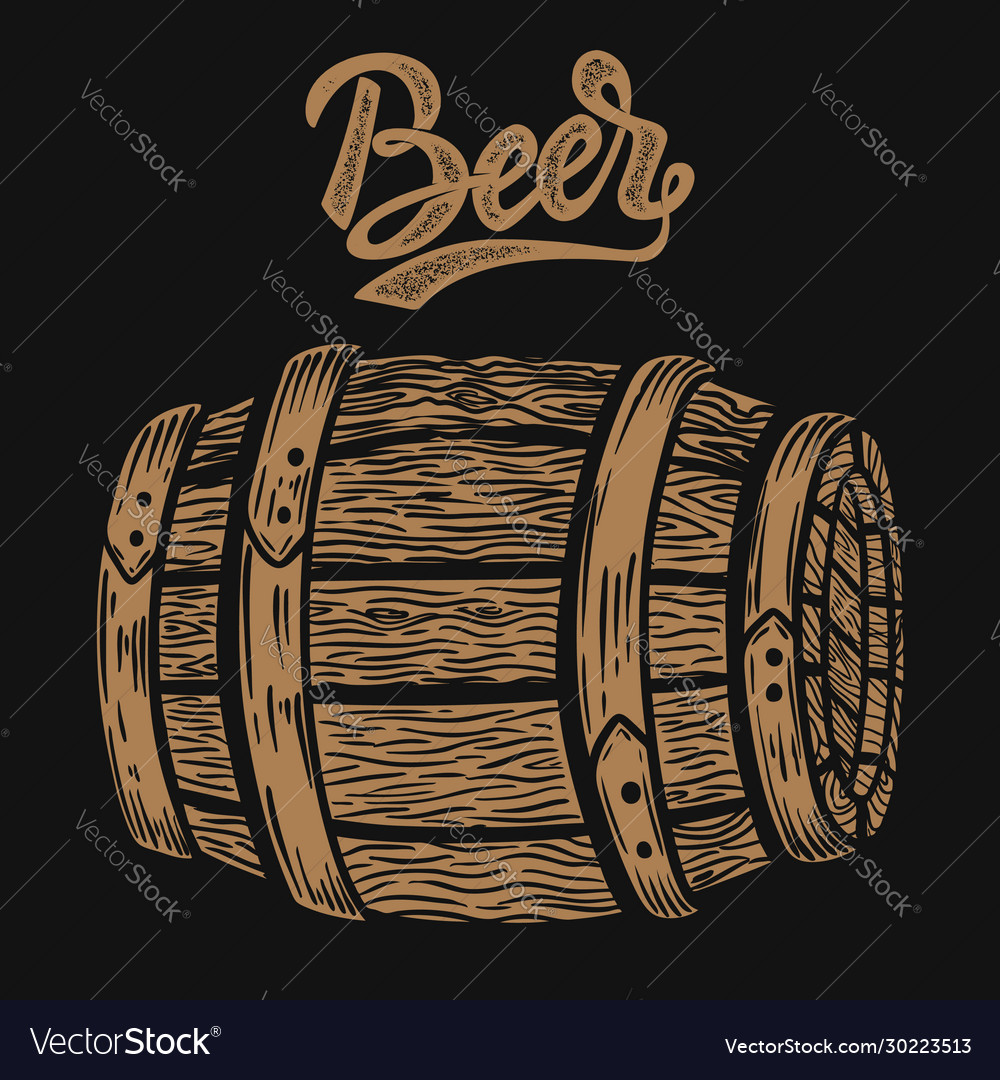 Wooden barrel beer in engraving style design
