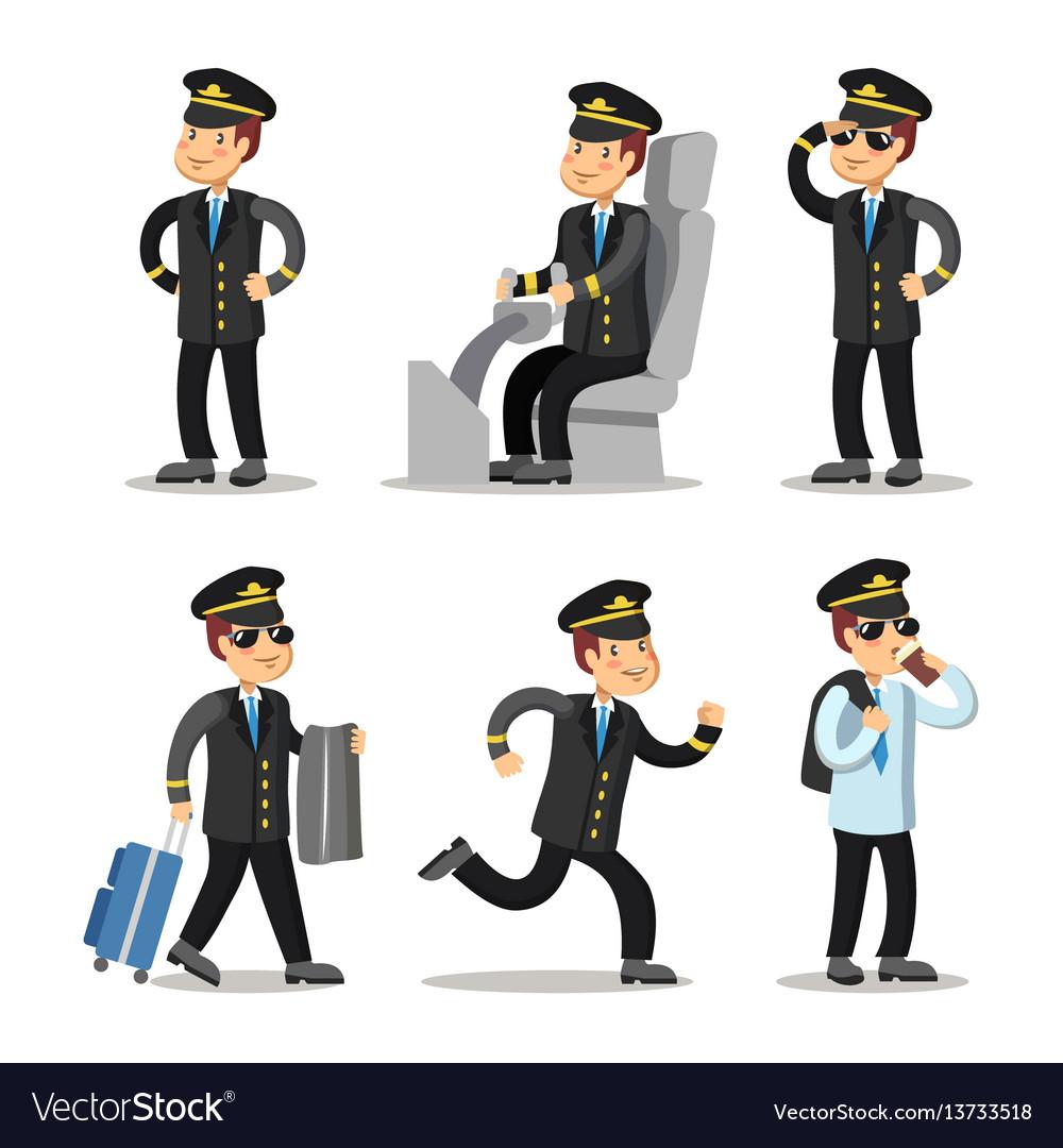 airplane pilot cartoon character set royalty free vector rh vectorstock com Airplane Pilot Cartoon Character Airline Pilot Cartoon