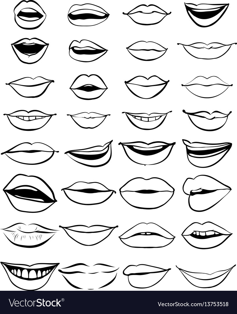 big hand drawn set of outline lips royalty free vector image