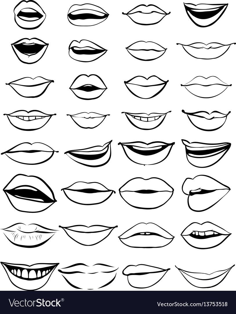 Big hand drawn set of outline lips