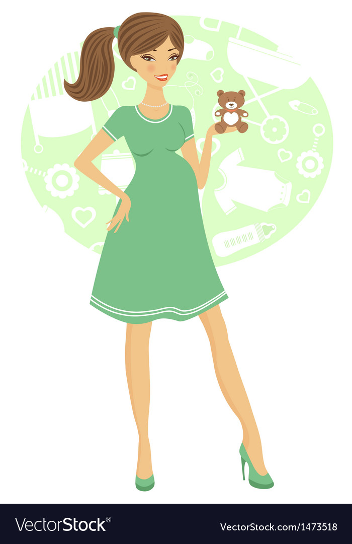 Chick preggy holding toy vector image