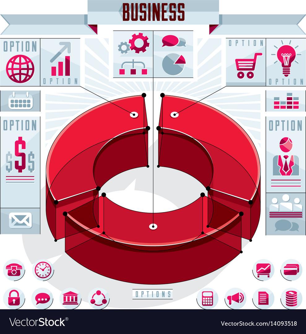 Creative infographics elements concept 3d three vector image