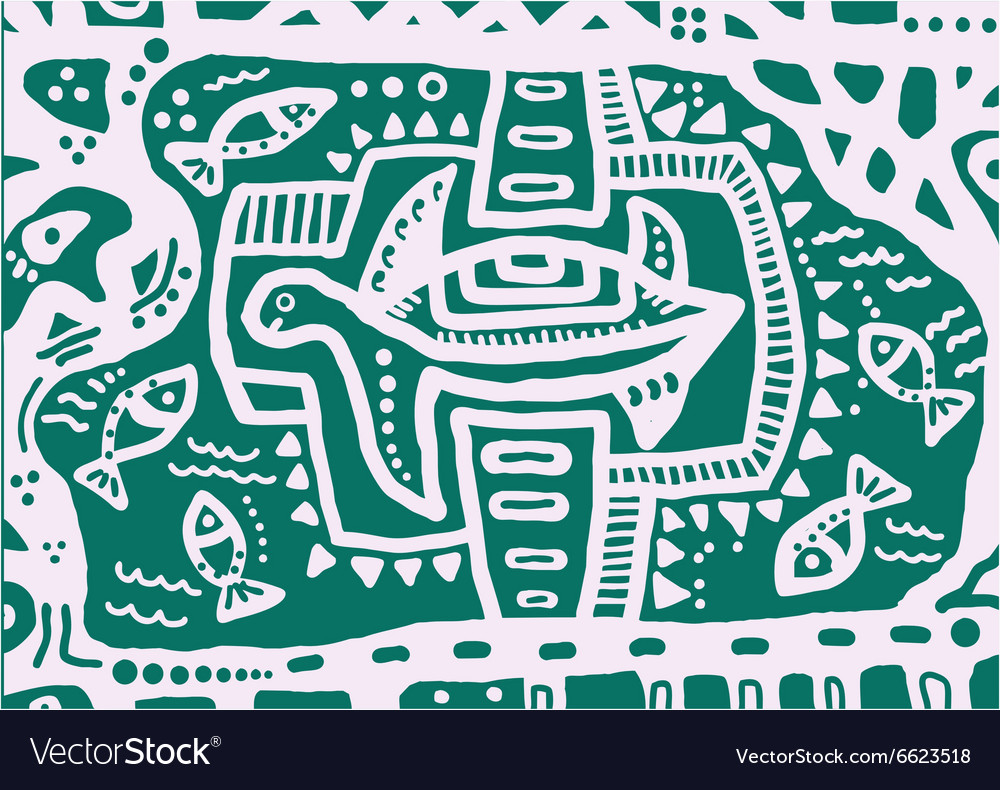 Decorative turtle and abstract floral ornament vector image