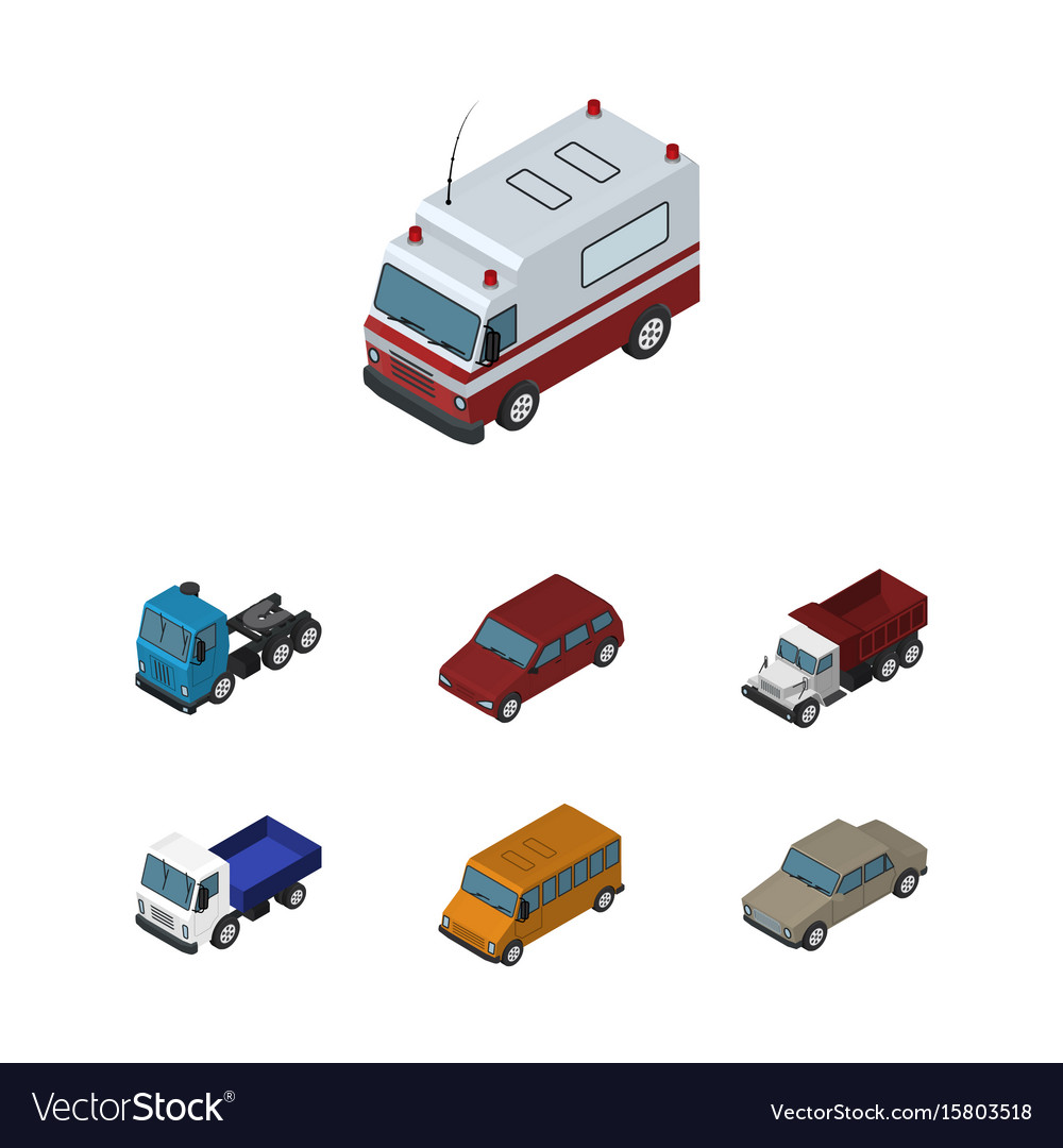 Isometric car set of auto autobus lorry and