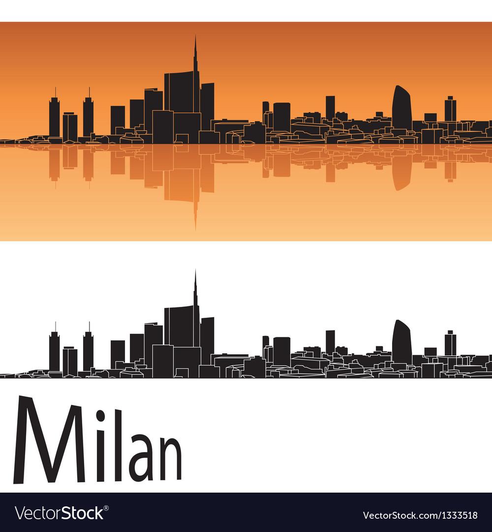 Milan skyline in orange background