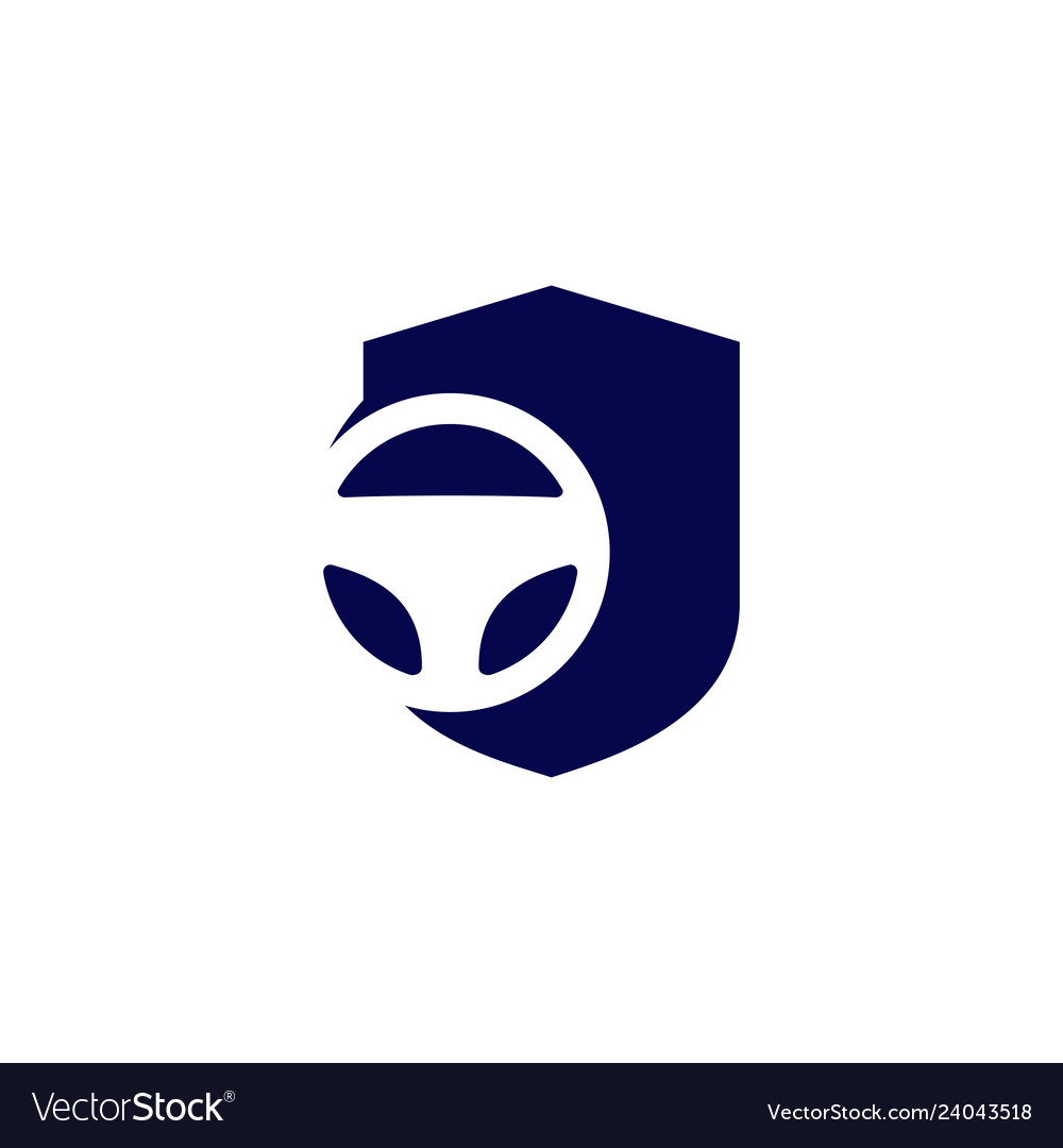Secure driving shield steering wheel icon logo