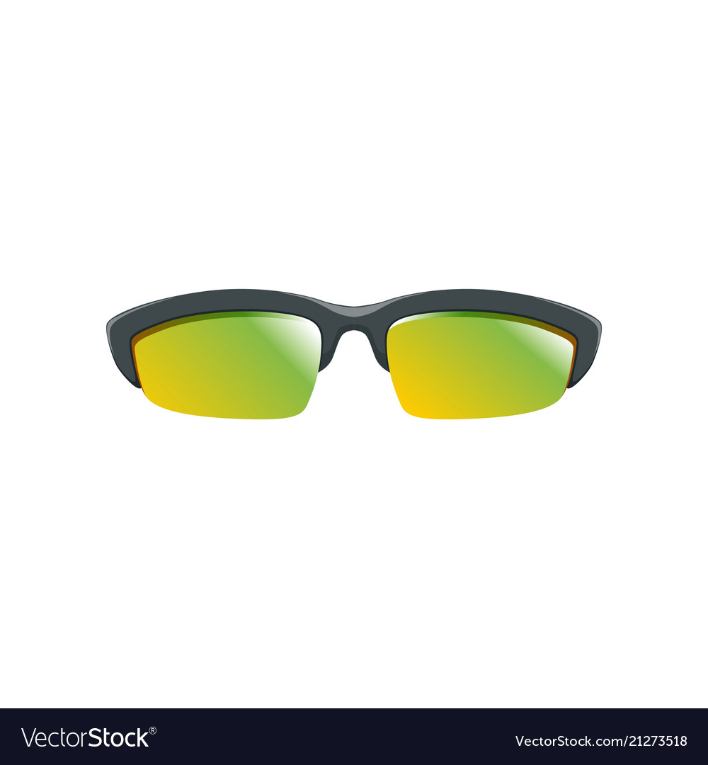 Sport sunglasses with yellow-green polarized
