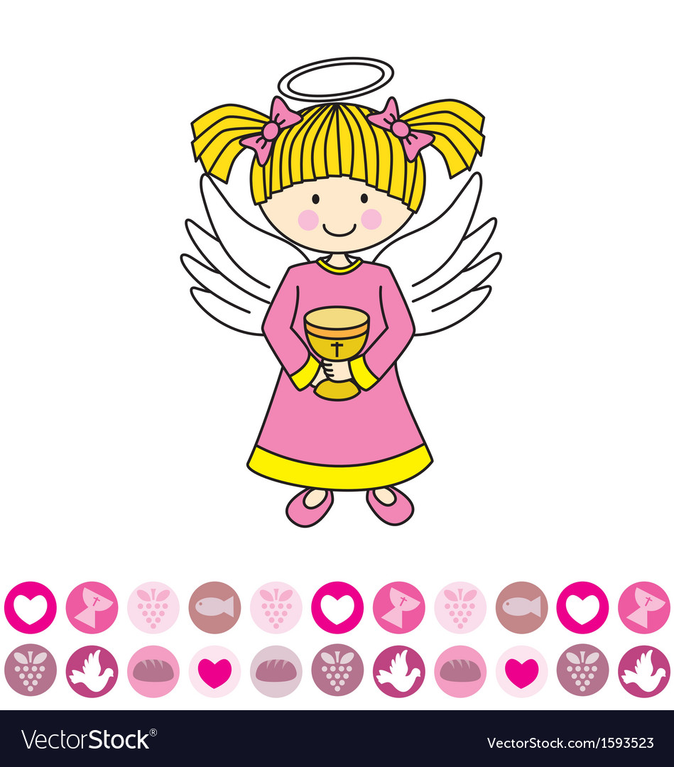 Angel with a chalice vector image