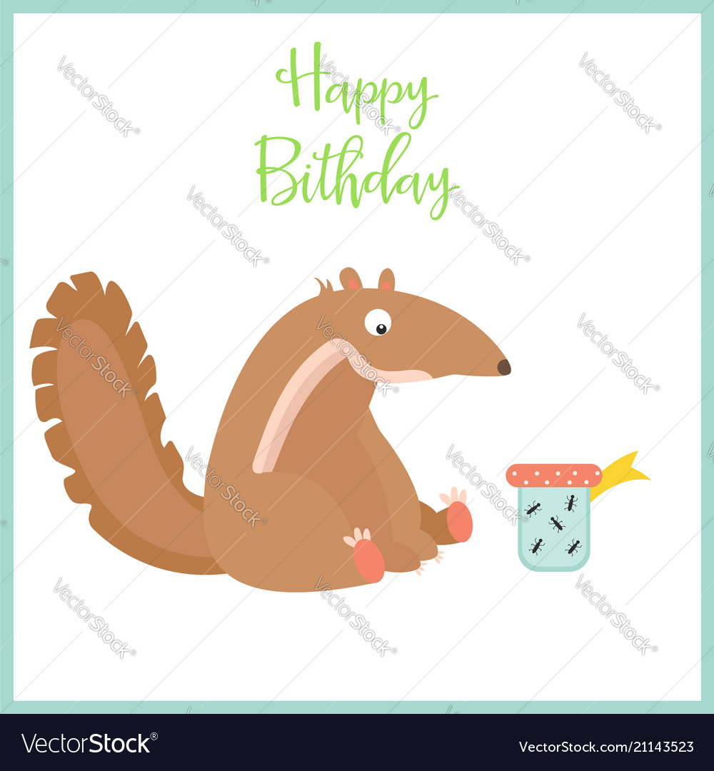 Birthday card with cute anteater and the present