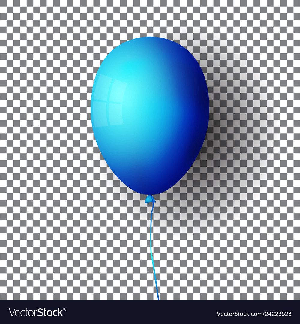 Bright blue air balloon isolated on transparent
