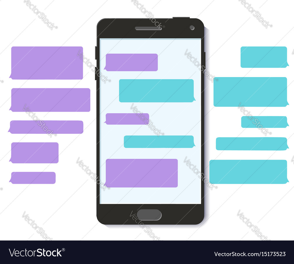Chat text message bubble 3d flat mobile interface