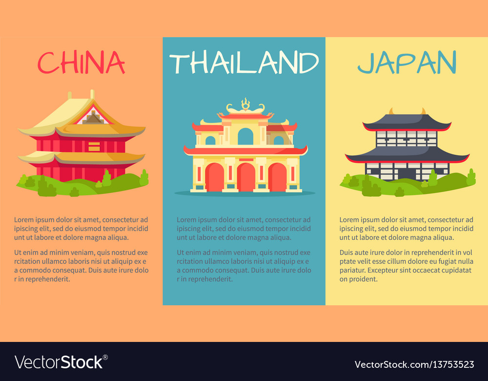 China thailand and japan buildings web banner vector image