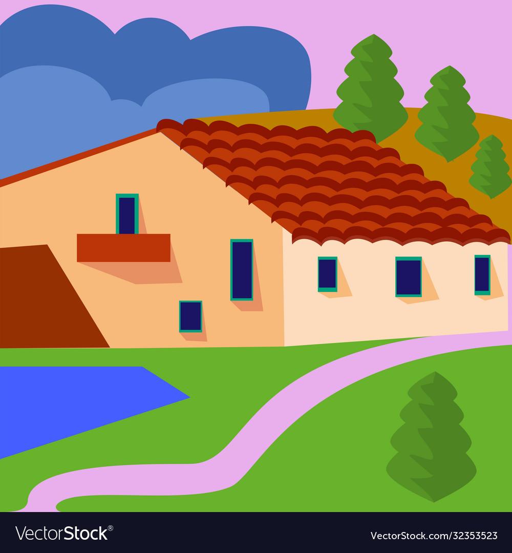 Farm landscape with fields and farmhouse