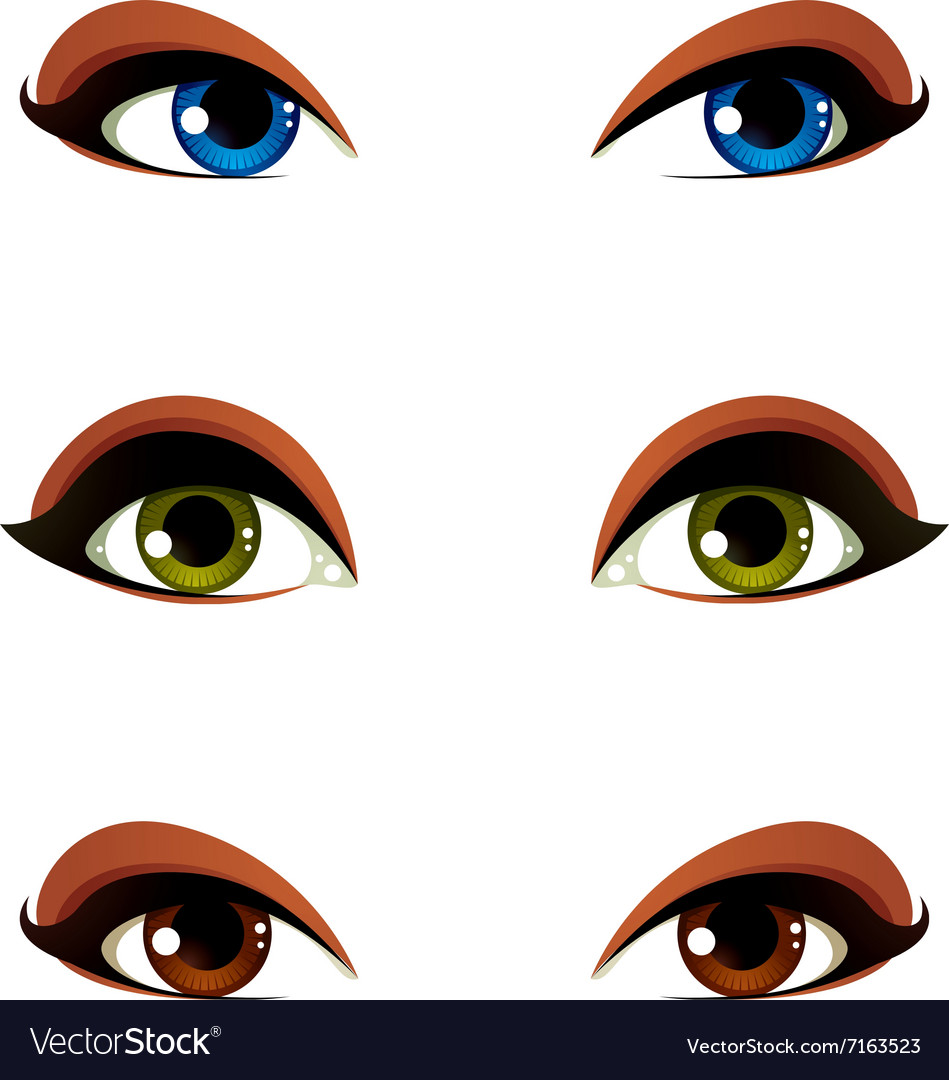 Female eyes collection in different emotion with