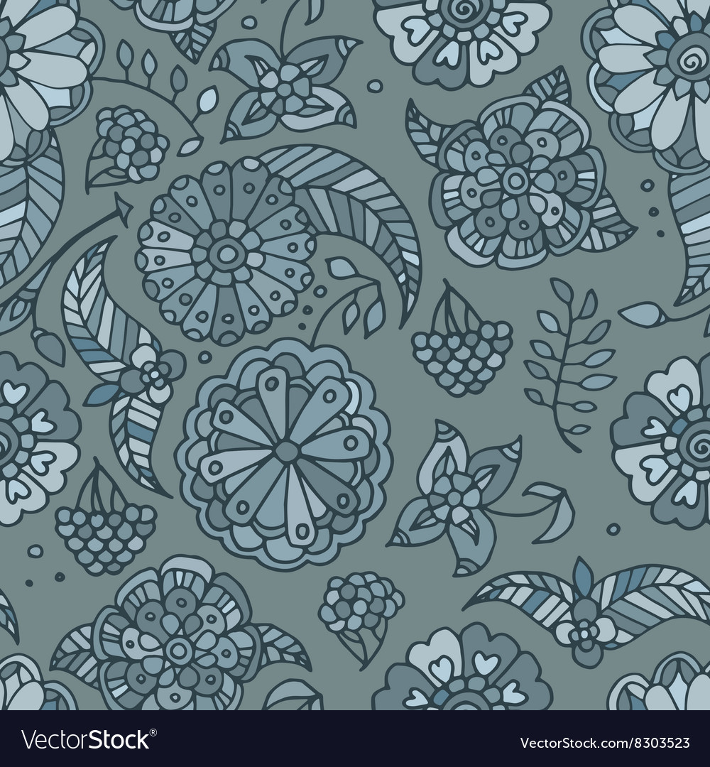 Hand drawn colored floral seamless pattern