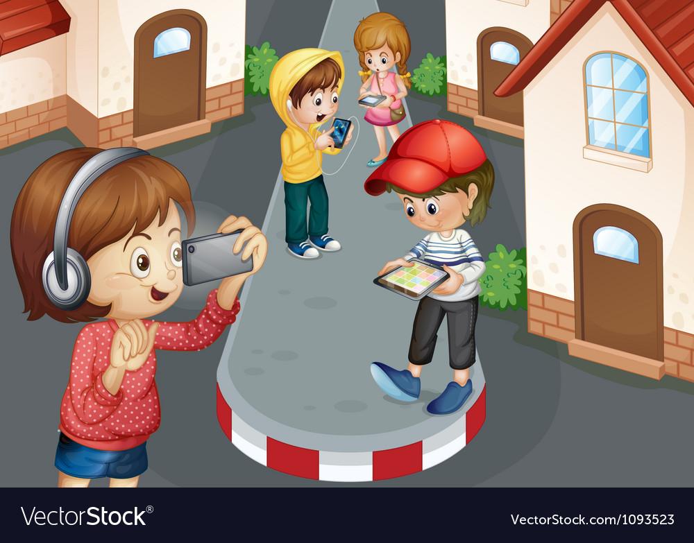 Kids on road vector image