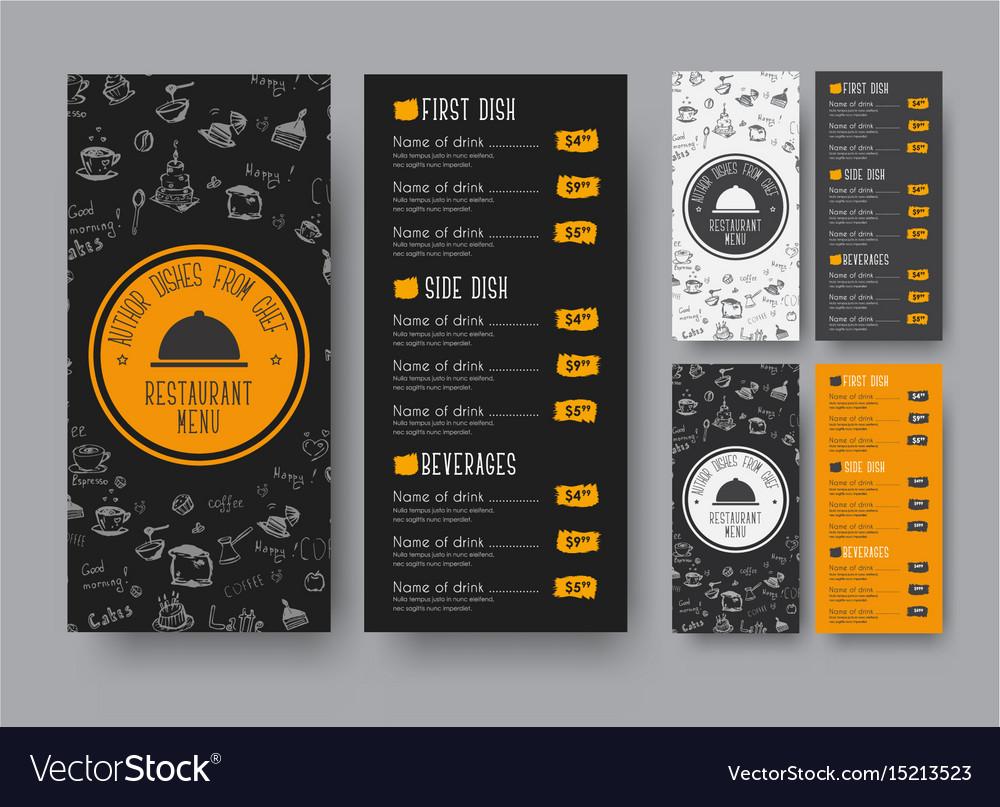 Narrow menu template for a cafe or restaurant