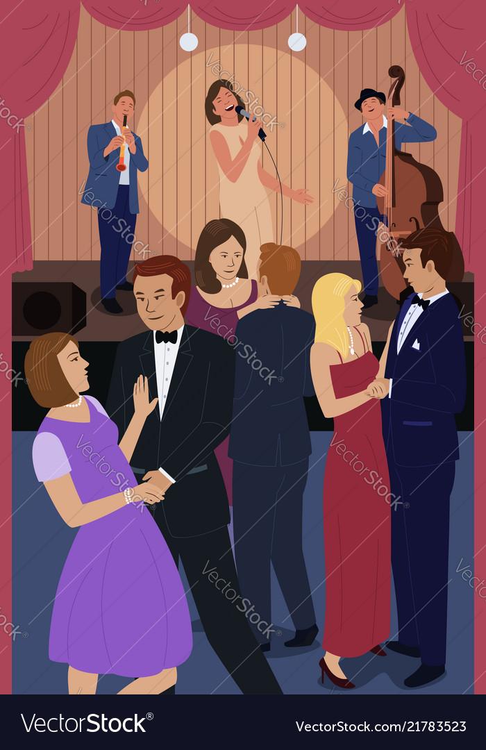 People dancing in a jazz night club