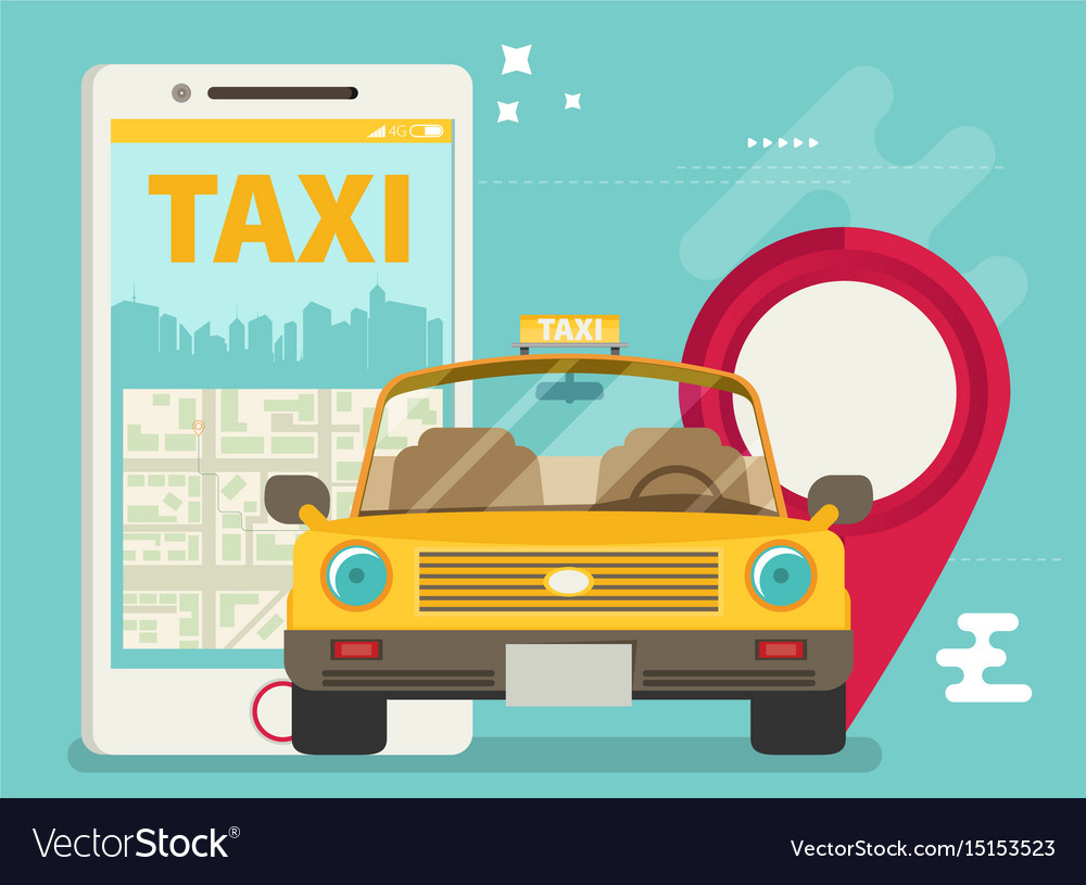 Taxi service smartphone flat vector image