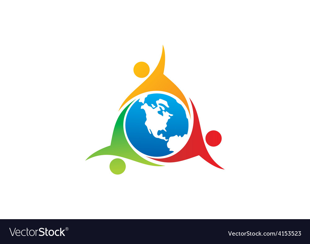 Teamwork Group World People Unity Logo Royalty Free Vector