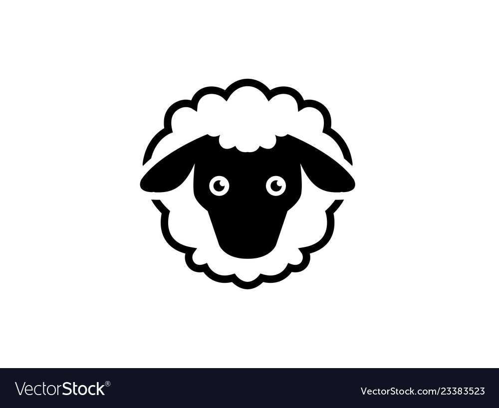 Woolly sheep with head and tail logo design cute Vector Image