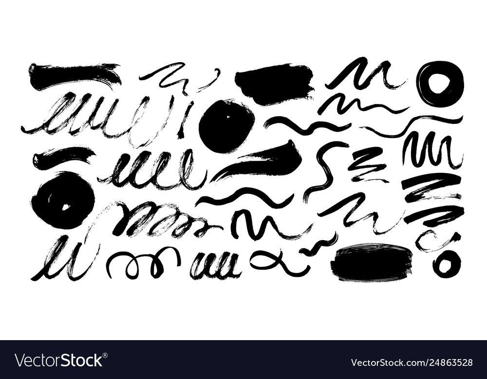 Black dry brushstrokes hand drawn set