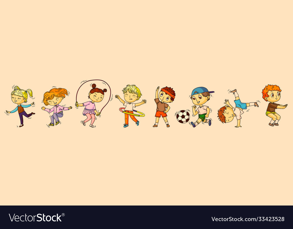 Children sports isolated boy and girl kid