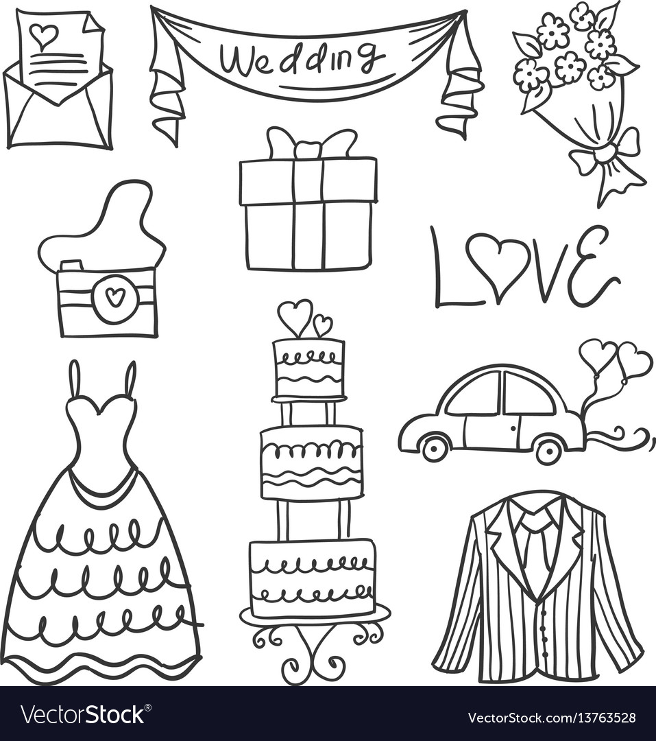 Doodle of object wedding style hand draw
