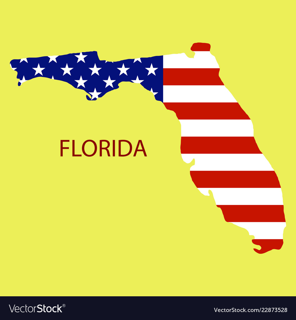 Printable Map Of Florida State.Florida State Of America With Map Flag Print On Vector Image