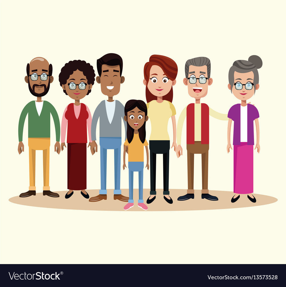 Group family different multicultural vector image