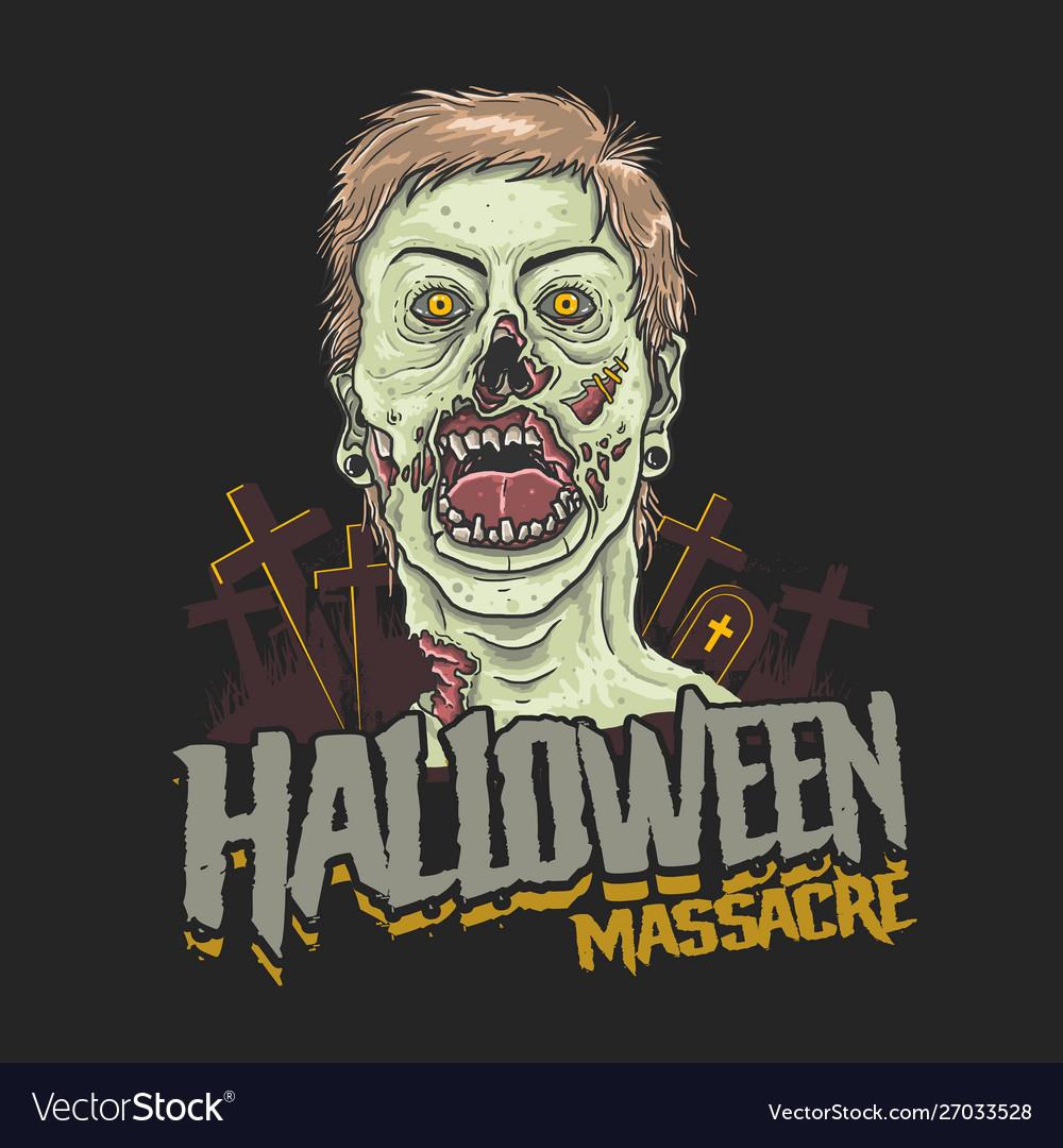 Halloween massacre zombie head