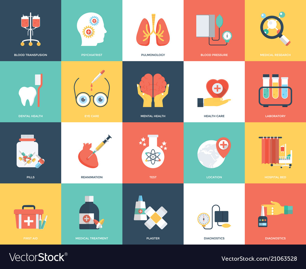 Icon set of medical and healthcare vector image