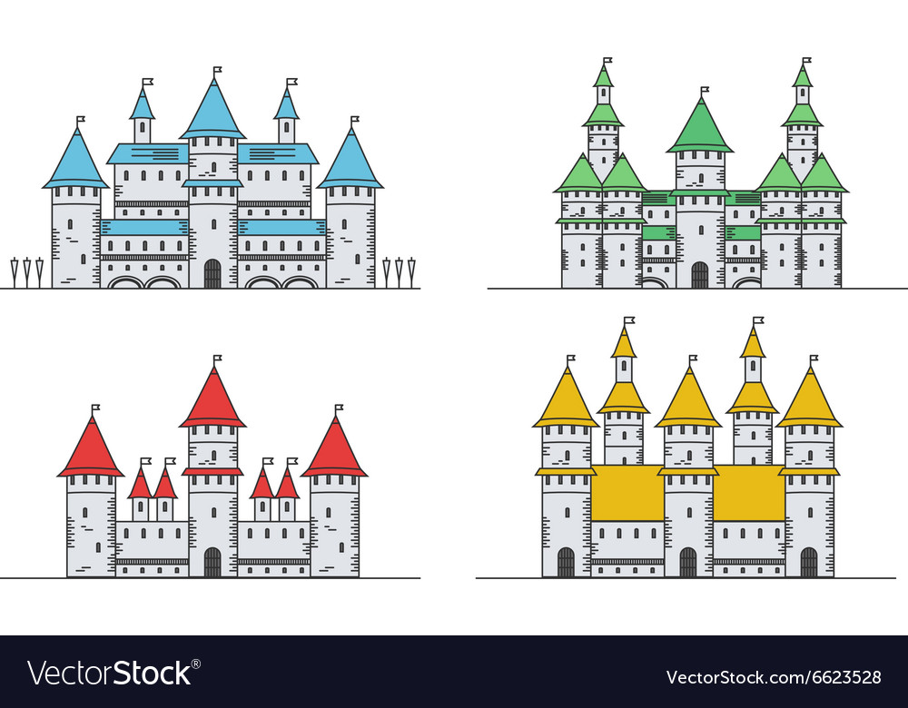 Medieval fortress or castles set Flat style icons