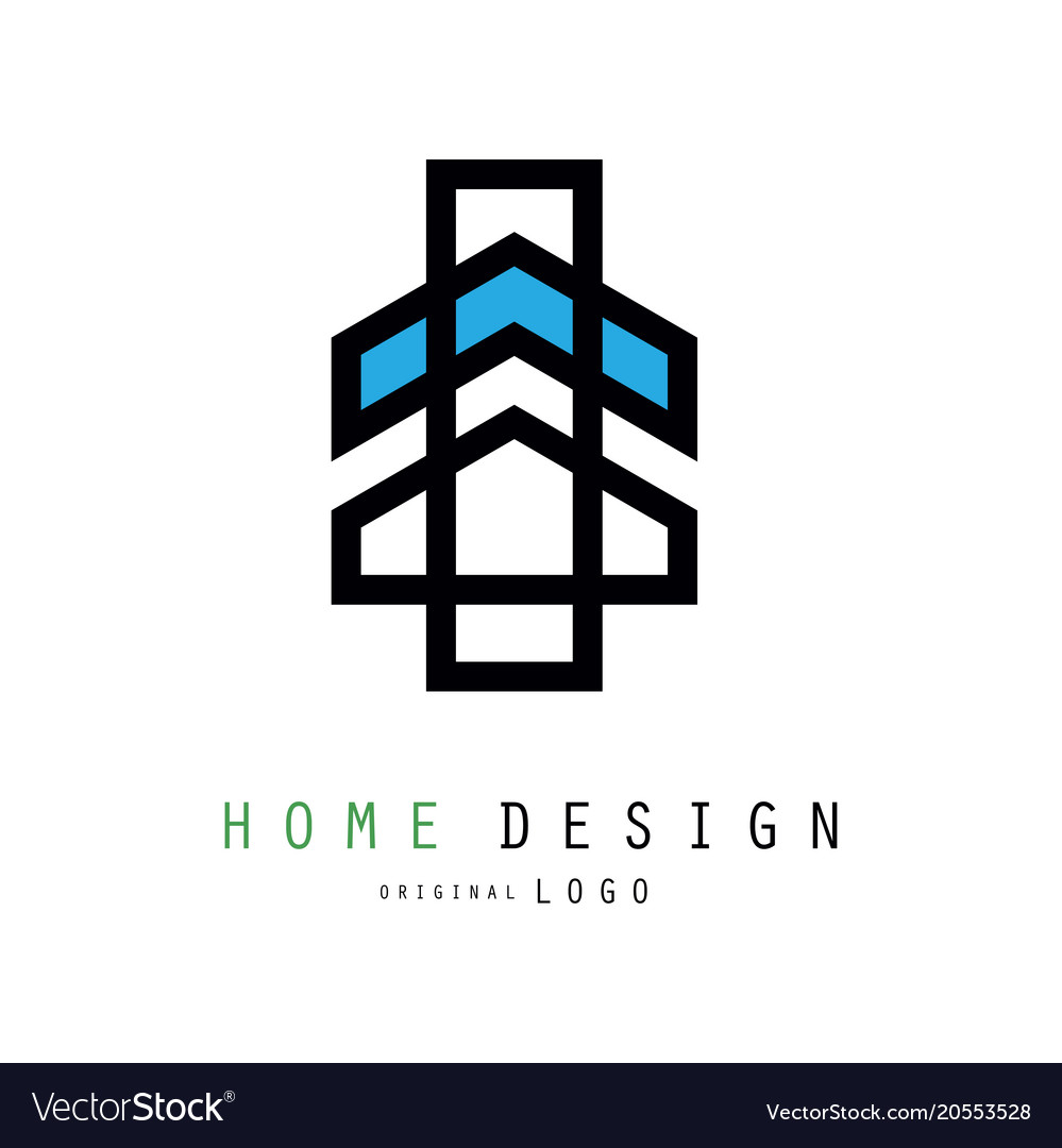 Original linear logo for house design company or