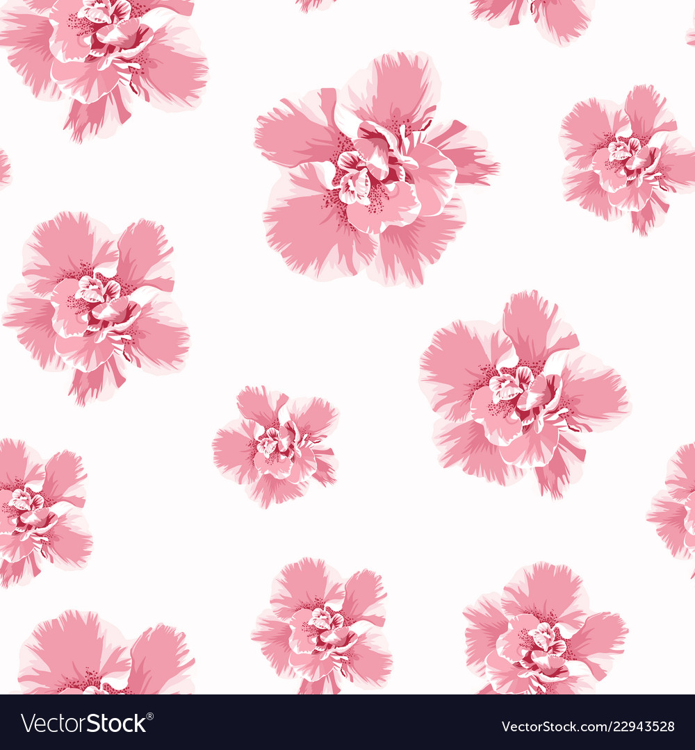 Pink camelia peony flowers seamless pattern