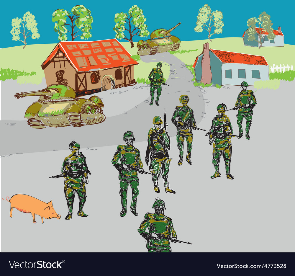 Soldiers In The City vector image
