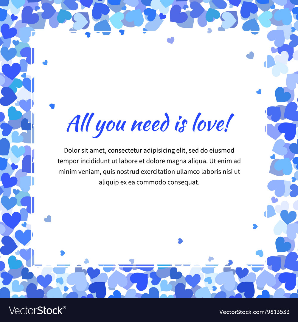 Cute template with many blue hearts square