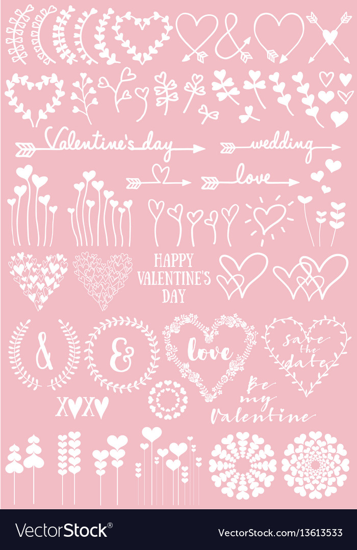 Floral heart designs set
