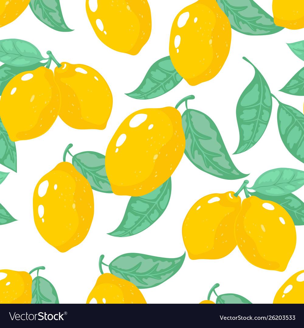 Hand drawn lemon pattern lemon tropical fruit