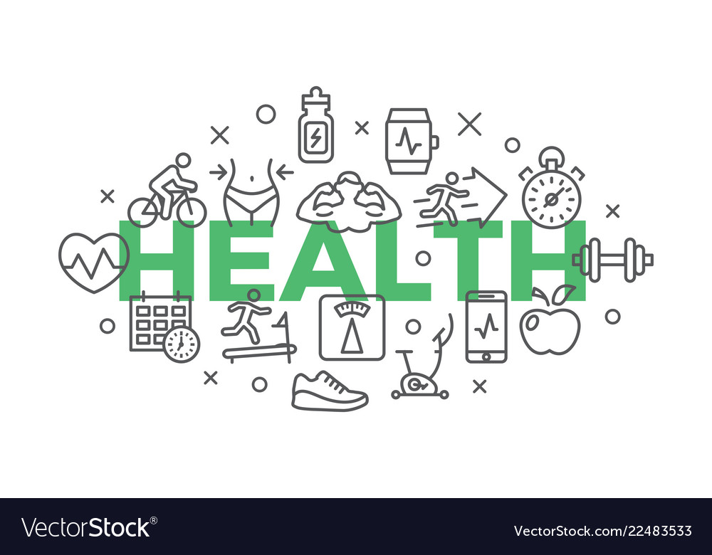 Health concept with icons and signs