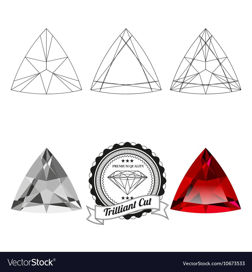 Set of trilliant cut jewel views