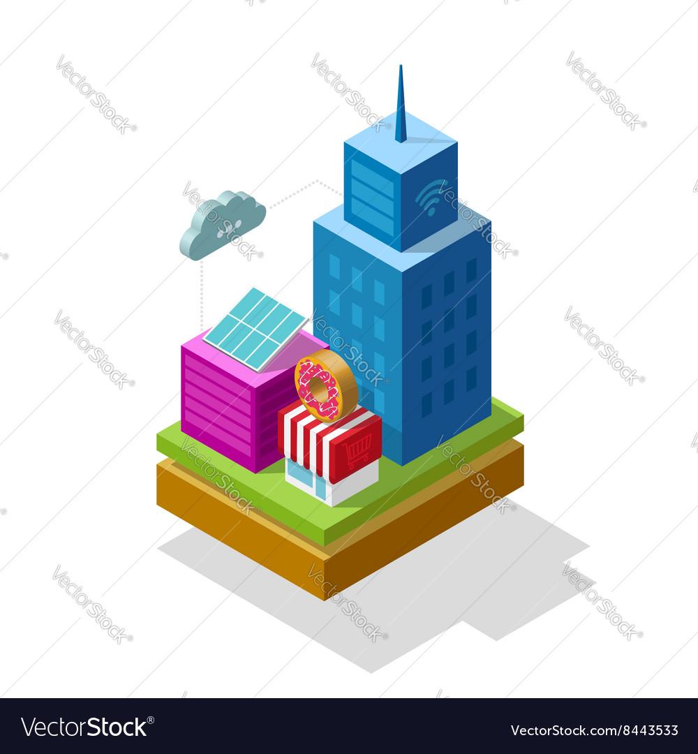 Smart city isometric vector image