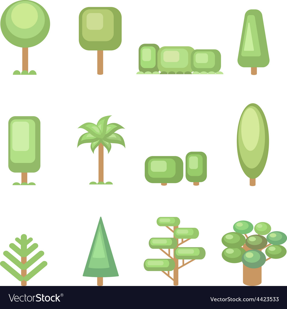 Tree icon set - Various trees and plants Nature vector image