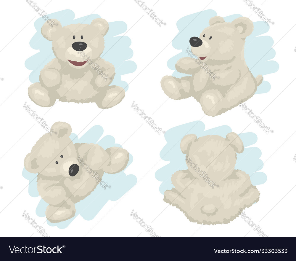 White teddy bear in different poses isolated on