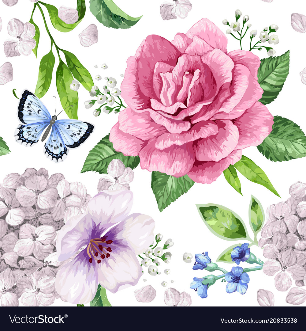 Apple tree roses hydrangea flowers petals and