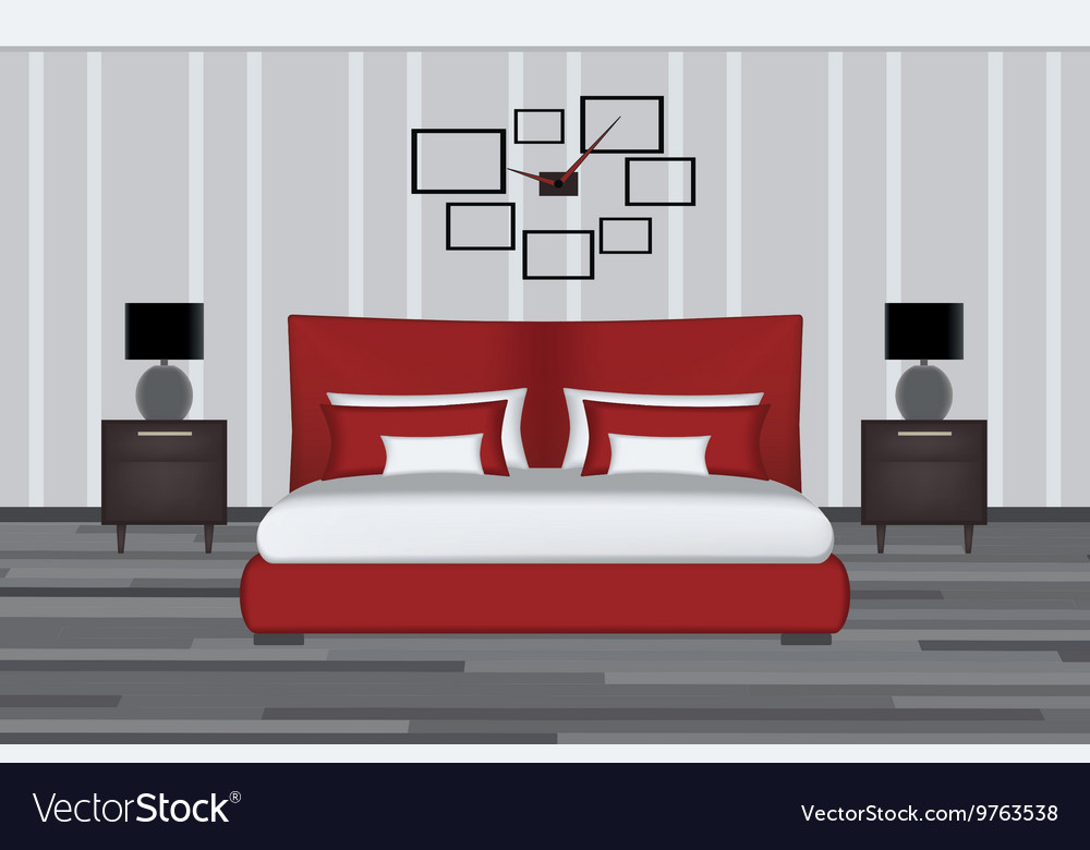 Bedroom Elevation Room With Bed Royalty Free Vector Image