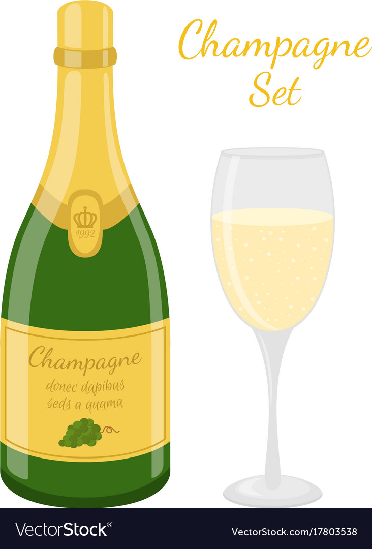 Champagne bottle glass cartoon flat style vector image