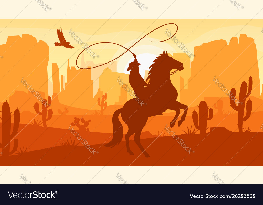 Desert landscape with cowboy on horse