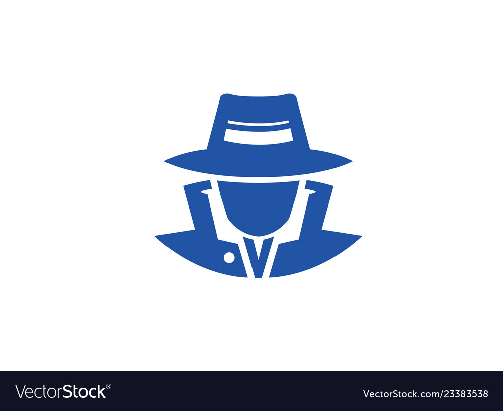 detective spy with hat logo design royalty free vector image vectorstock